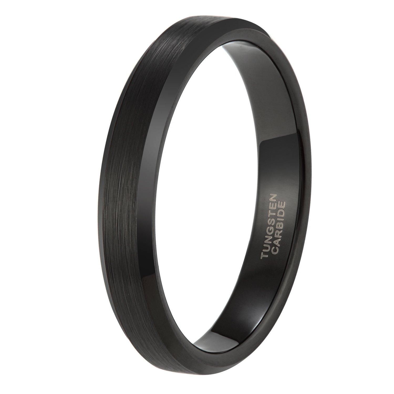 4mm Slim Black Tungsten Carbide Ring Band for Men Women Beveled Edges Brushed Comfort Fit
