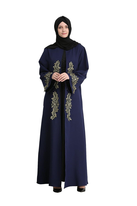 GladThink Women's Muslim Luxurious Gown Islamic Maxi Dress