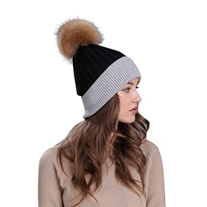 Elogoog Womens Warm Faux Fur Pom Pom Beanie Hat Soft Cable Knit Winter  Skull Ski Caps 612fcf6f2f1