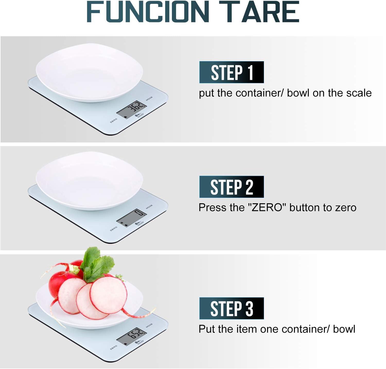Bilancia da Cucina bianca 10Kg//1g Bilancia Elettronica Digitale Alta Precisione Misurazione Display LED Multifunzione da Cucina e Acciaio Inossidabile Usato Come Sveglia