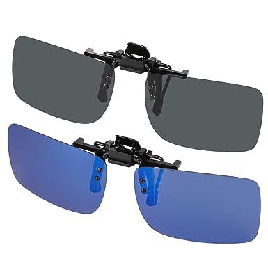 cdffa5581b309b Hifot clip sur lunettes de soleil 2 paires, lentille polarisée ajustement  sur les lunettes de