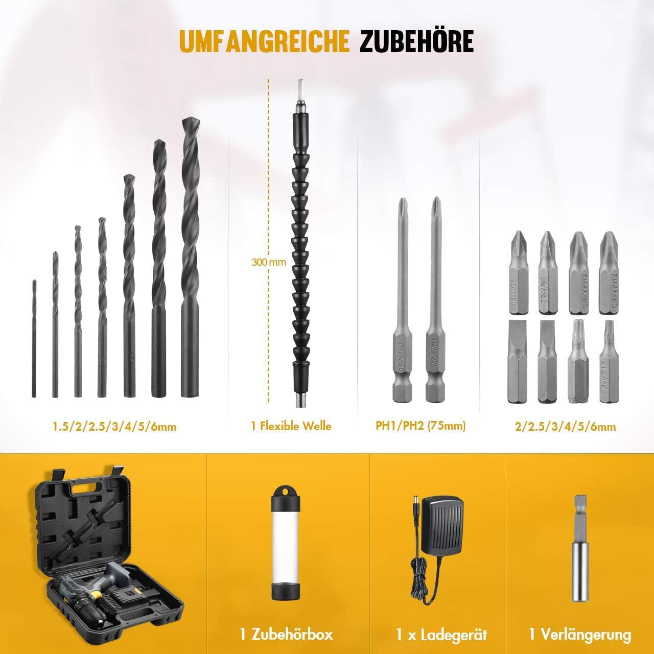 Akkuschrauberset mit LED-Arbeitslicht 18+1 Drehmomentstufen 2 Gang 22-TLG Akku-Bohrschrauber 20V Zubeh/ör-Set 35Nm Akkuschrauber Holife