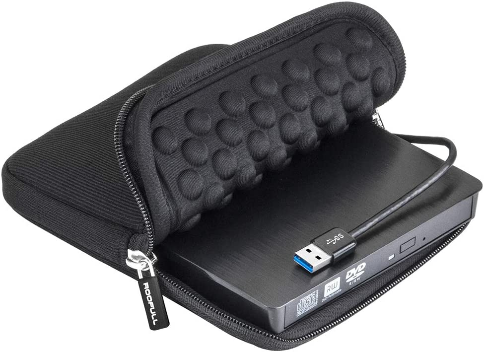 ROOFULL USB 3.0 External CD DVD Drive with Protective Storage Carrying Case Bag, Portable DVD/CD ROM +/-RW Drive Burner Rewriter for Windows 10/8/7, Mac, Linux Laptop Desktop, MacBook Pro/Air, iMac