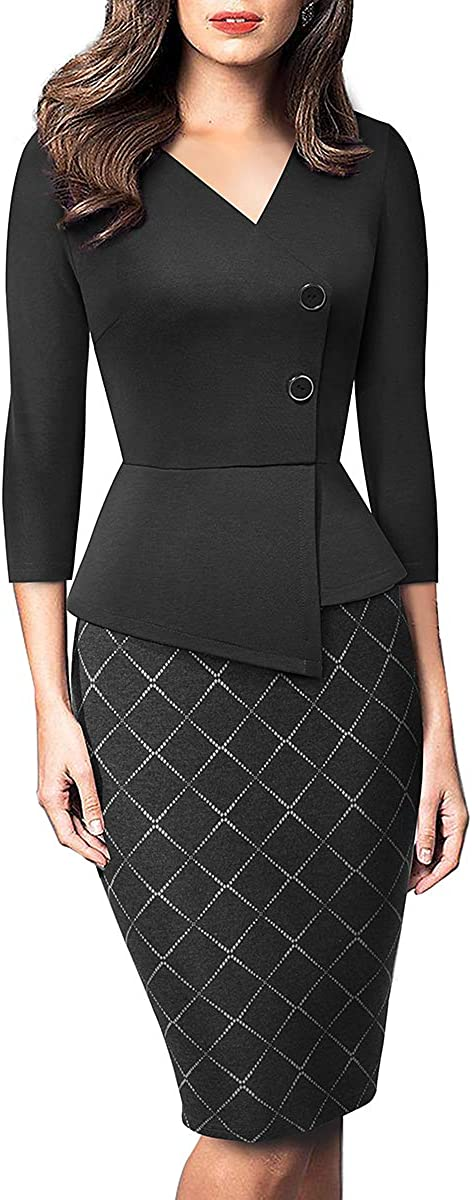 HOMEYEE Vintage Work Dress for Women Peplum Business Formal Pencil Dress B564