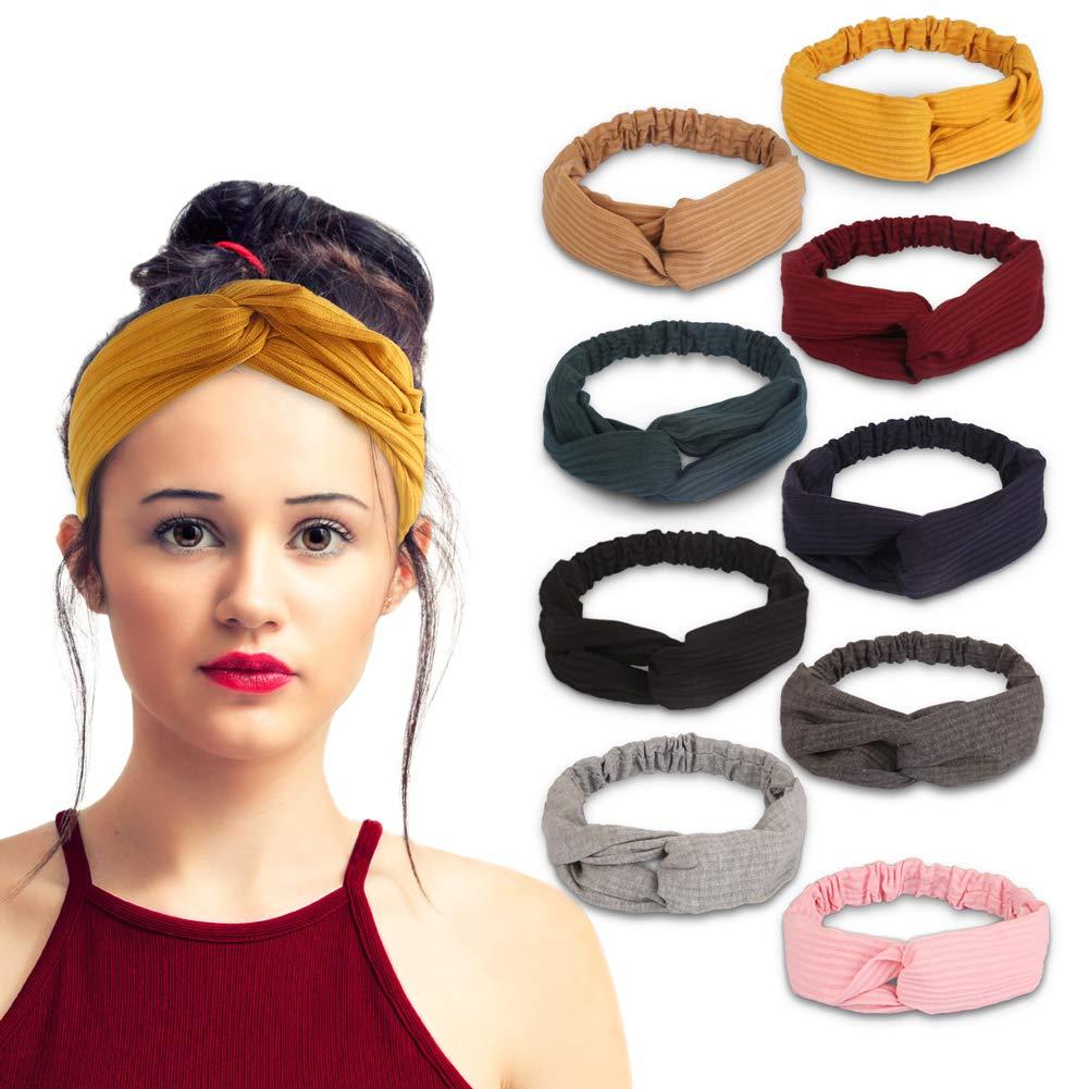 Lady Girls Plain Headband Cotton Elastic Stretch Wide Yoga Sports Gym Headwear