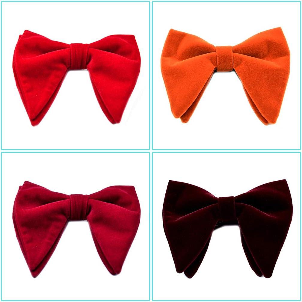 XiuginFU Mens Velvet Vintage Double Layer Pre-Tied Handmade Bow Tie Glitter Solid Color Tuxedo Big Oversized Adjustable Length Necktie