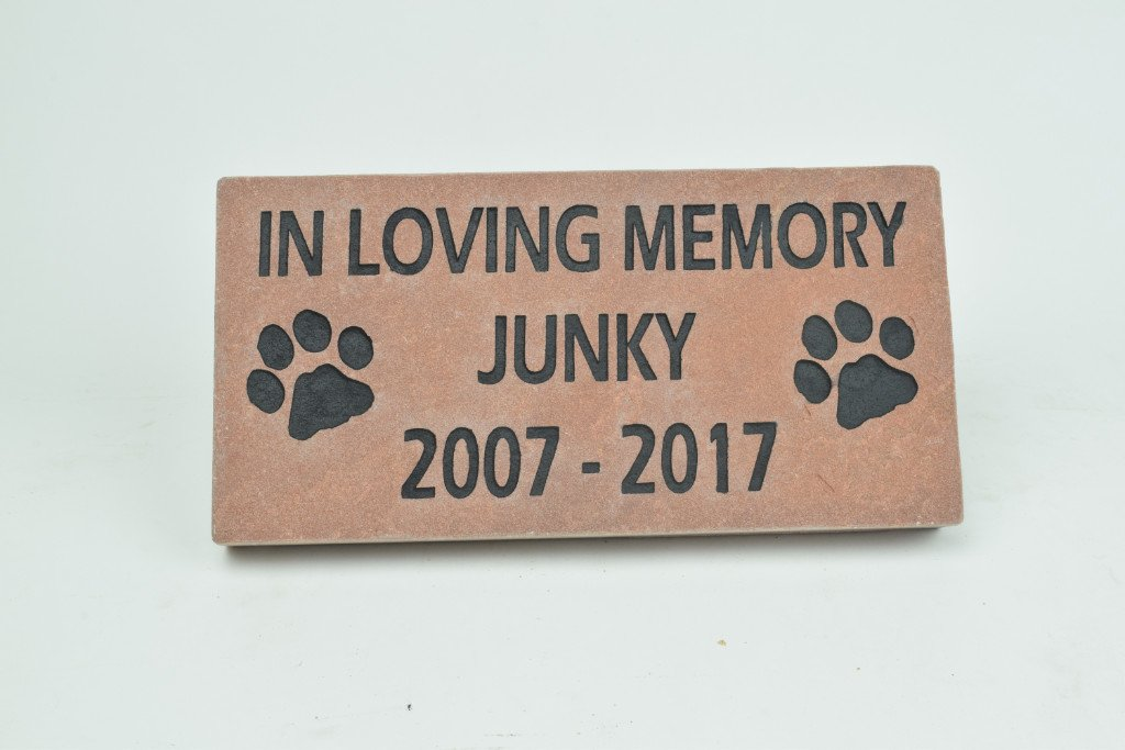 GraphicRocks Engraved Stone Pet Memorial Headstone Grave Marker Dog Cat Red Flagstone 4 inches x 8 inches by GraphicRocks