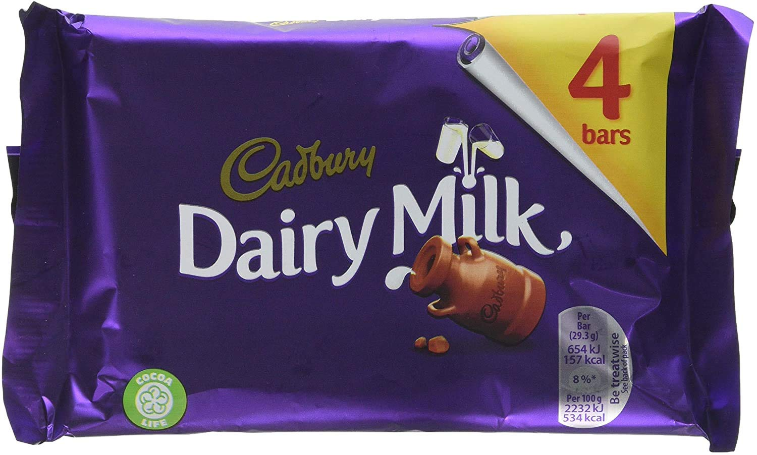 Cadbury Dairy Milk Chocolate Candy Bar Pack Imported From The UK England Creamy Milk Chocolate Made With A Glass & A Half Of Fresh Milk Made With Fair trade Cocoa The Best British Candy Bar
