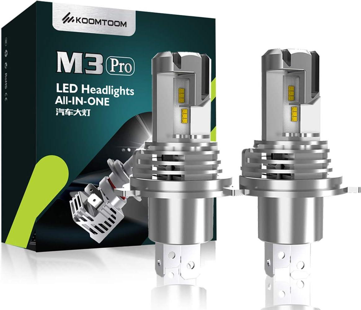 KOOMTOOM Bombillas LED H4/9003 Kit de conversión sin cables Halógeno 1: 1 Diseño todo en uno Plug-N-Play Bombillas LED para faros delanteros/luces antiniebla/DRL 55W 12000LM 24V -1YR Garantía…