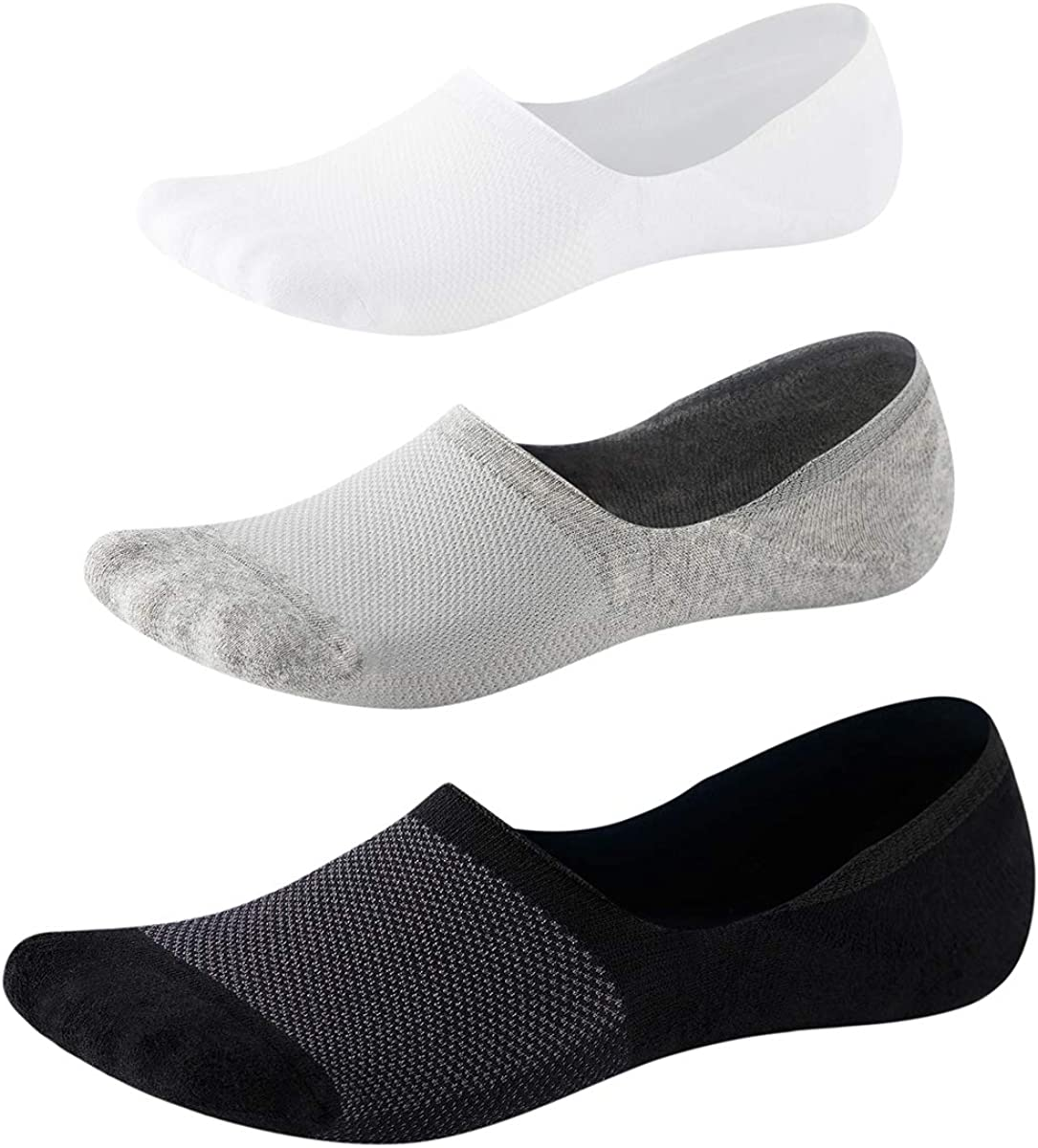 No Show Socks with No-slip Grip for Men-Low Cut Invisible Running Socks with Cushion&Mesh 3Pairs SEESILY