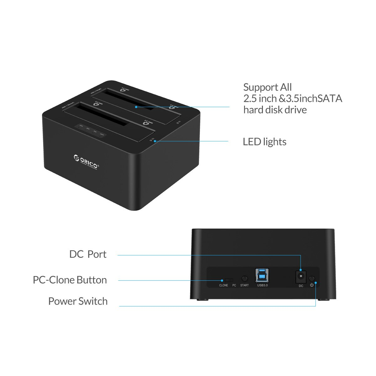 ORICO Dual-Bay 2.5'' 3.5'' USB 3.0 to SATA Hard Drive Docking Station with Offline Duplicator and Clone Function [UASP Protocol and 2 x 8TB Supported]- Black by ORICO (Image #4)