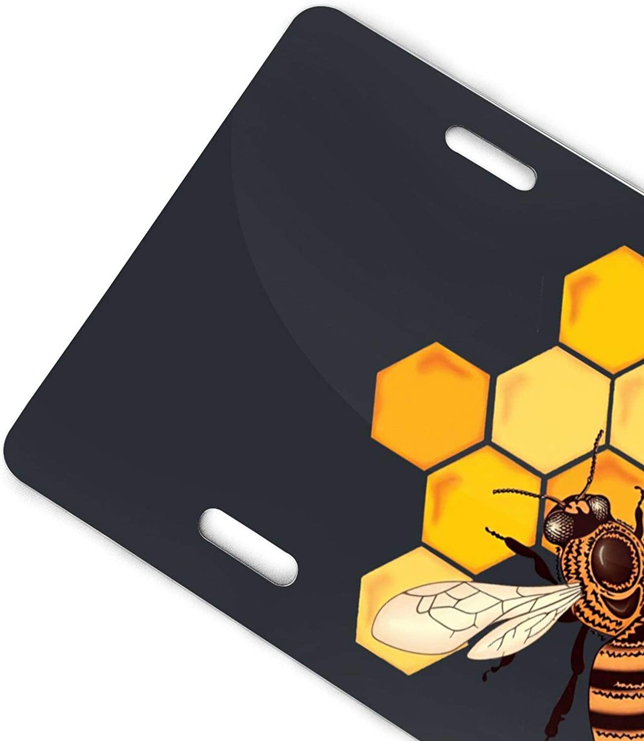 FEDDIY Honey Bee Novelty License Plate Cover Vanity Metal Tag for Front of Car 6 X 12 Inch