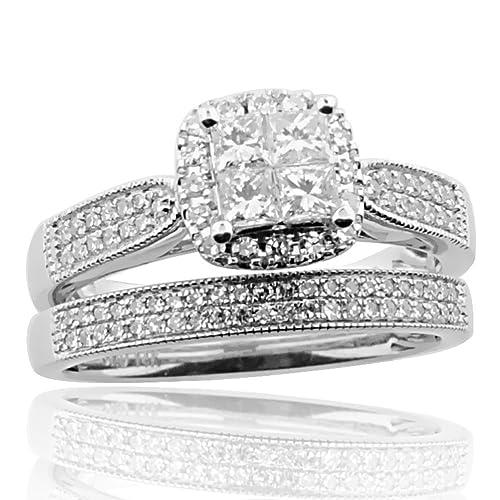 14 K oro blanco novia juego de anillos de boda 3/4cttw 9 mm de