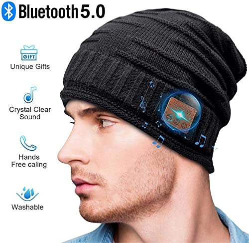 Bluetooth Beanie, Gifts for Man, Bluetooth hat Fashion Winter Hats Built-in Stereo Speaker Unique Christmas Tech Gag Gifts for Men Women Teen Boys Teen Girls Black
