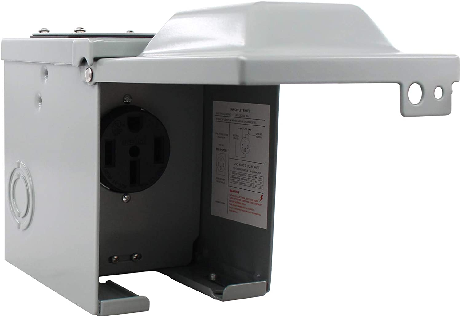 XtremeAmazing RV Power Outlet Box 50 Amp 125/250 Volt Outdoor Receptacle Plug Enclosed Lockable for Camper Travel Trailer Motorhome Electric Car