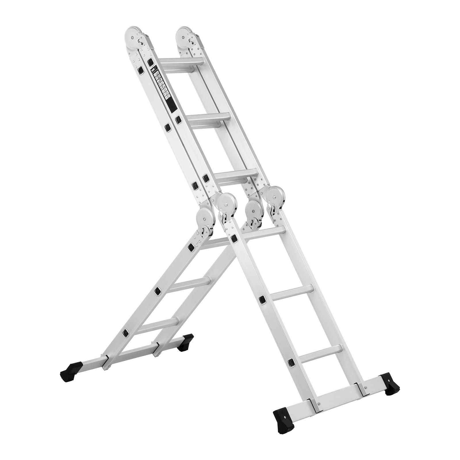 2,5 m, max. 150 kg, 3-in-1 Funktionalit/ät, Aluminium, faltbar MSW Alu Leiter Stehleiter Multifunktionsleiter Mehrzweckleiter Anlegeleiter MSW-AVL11