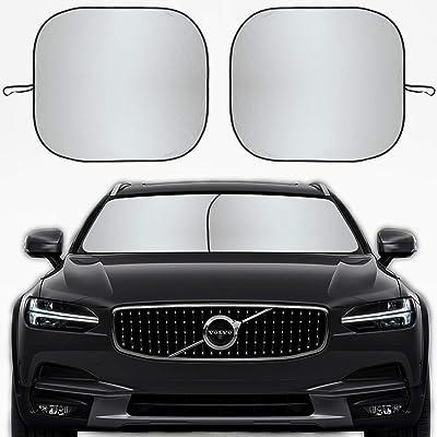 Kribin 2 Pack Car Windshield Sun Shade - 28'' x 32'' Foldable Sunshade for UV Protection and Heat Reflector - Keep Your Vehicle Cool: Automotive