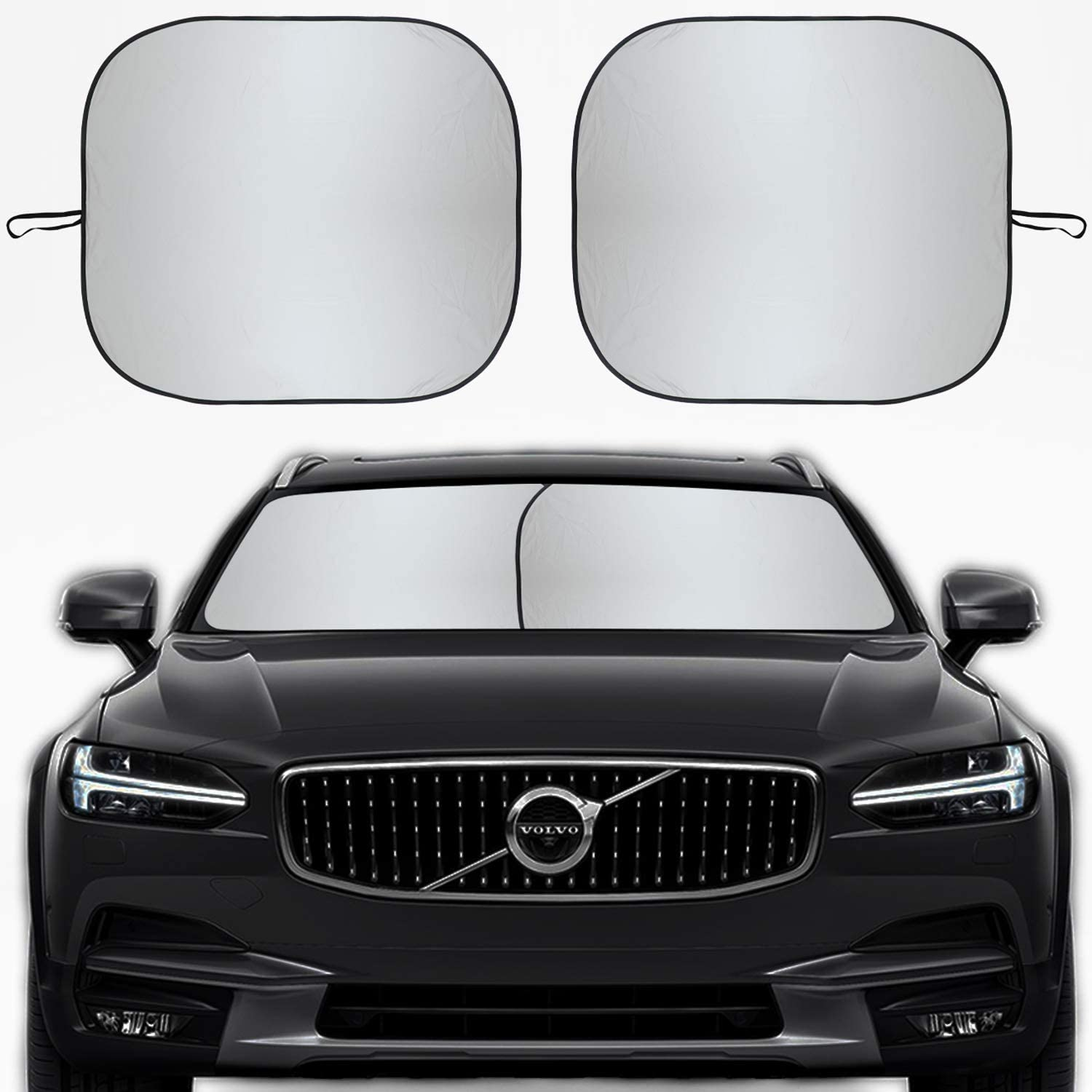 2020 Upgraded Car Windshield Sun Shade for UV Protection and Heat Reflector Keep Your Vehicle Cool Kribin 2 Pack Windshield Sunshade