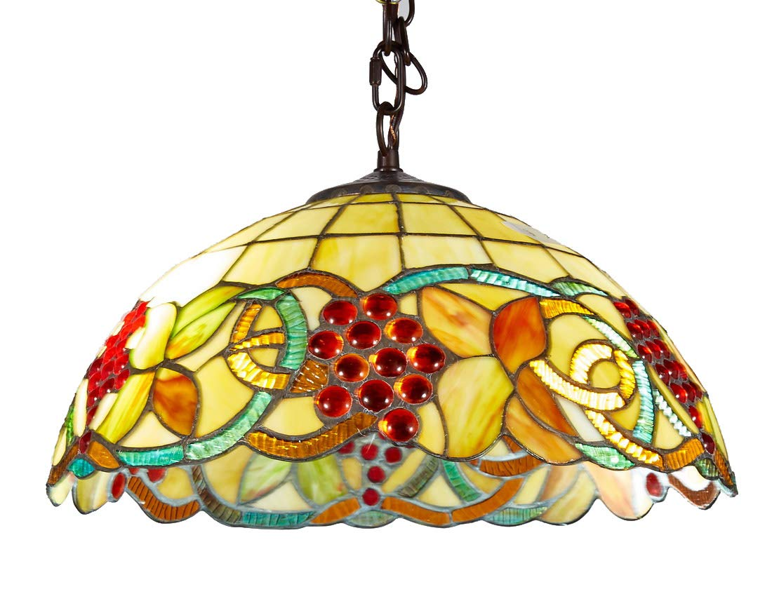 Top Lighting Top Lighting Tiffany Style Stained Glass Hanging Lamp Ceiling Fixture TL16004, 16-inch Wide
