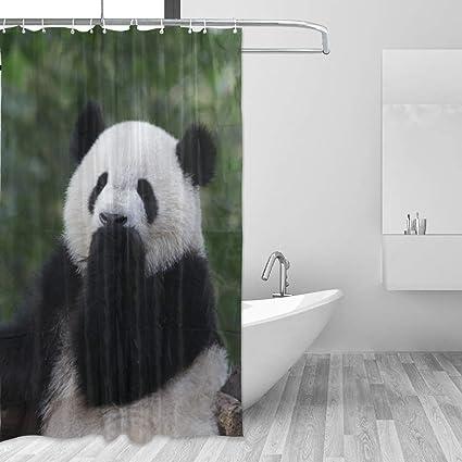 LUCASE LEMON ALEX Cute Funny Panda Shower Curtain Set Home Decoration Polyester Waterproof Fabric Bathroom Accessories