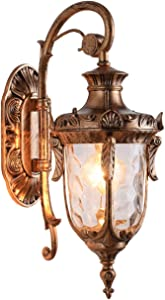 "LONEDRUID Outdoor Wall Light Fixtures Bronze 16.93""H Exterior Wall Lantern Waterproof Sconce Porch Lights Wall Mount with Water Glass Shade for House, UL Listed"