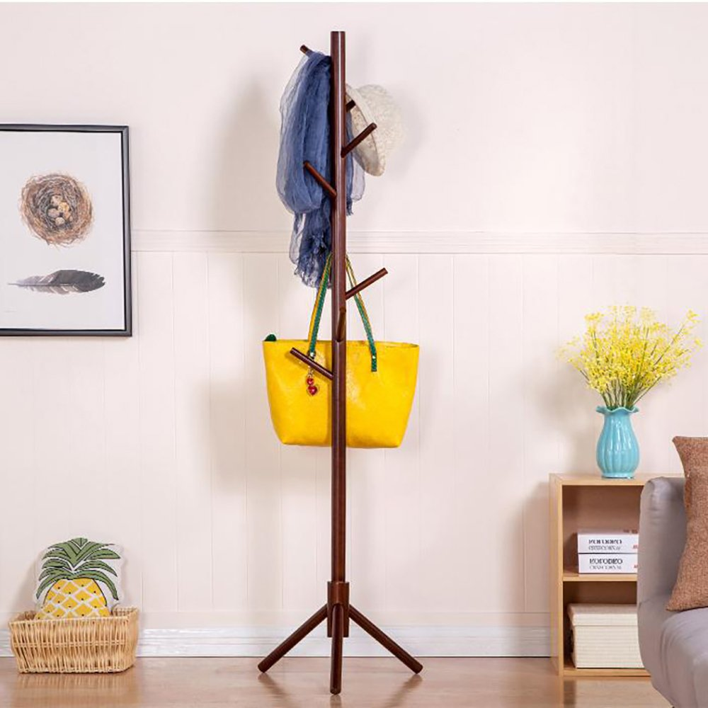 JOYBASE 8 hooks Wooden Coat Rack/Clothes Hanger Stand, for Coats, Hats, Scarves, Jacket and Handbags(Coffee) by JOYBASE (Image #5)