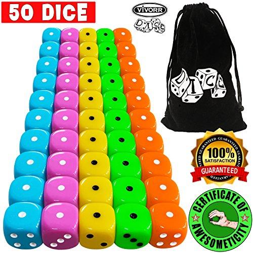 Vivorr Premium Dice Set of 50 Pieces, 5 Colors, 10 of Each Color, 16mm, D6, c/w Velvet Carry Bag / Pouch, Perfect for: Tenzi, Farkle, Yahtzee, Bunco, Board Games, Casino or Teaching Math. Ideal Gift.