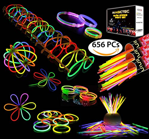Sunlitec 300 Glowsticks, (656 Pcs Total) Light up Toys Glow Sticks Bracelet Necklace Light-Up Mixed Colors Party Favors Supplies with 356 Connectors (Total 656 PCs) -