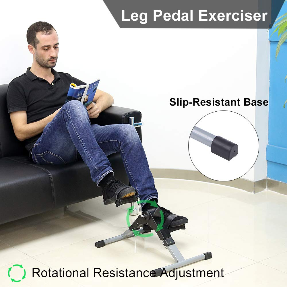 Evoland Pedal Exerciser, Mini Foldable Pedal Trainer Aerobic Exercise for Leg and Arm Fitness Training with LCD Display and Adjustable Resistance