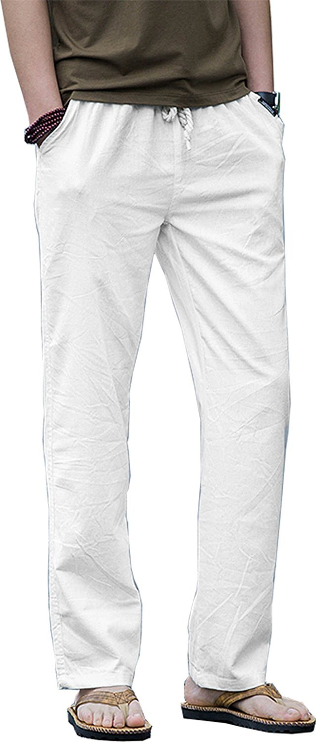 TBMPOY Men's Linen Casual Elastic Loose Fit Straight Pants Yoga Beach Summer Trousers(1 White,us L)