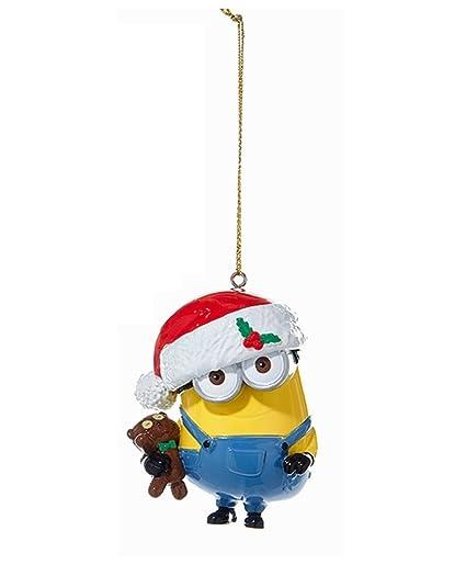 ksa 3 despicable me minion bob in a santa hat holding his bear christmas ornament - Minion Christmas Ornament