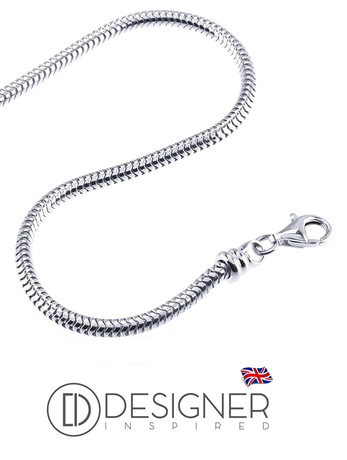 Designer Inspired Sterling Silver 2mm Snake Necklace Chain 15g 18 inches With Lobster Clasp wvjgm