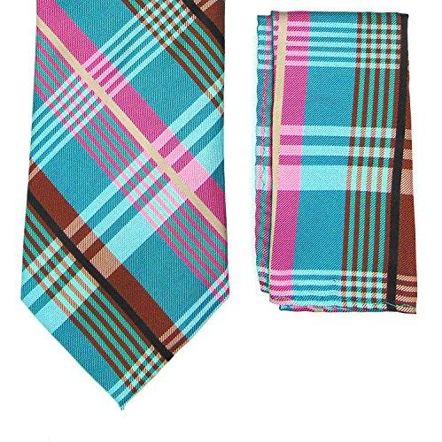 Men's Plaid Tie Set - Pocket Square Checked Pattern