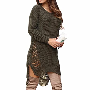 fa663525321 Women S Knitted Hole Hollow Out Long Sleeve Irregular Sweater Dress Pullover