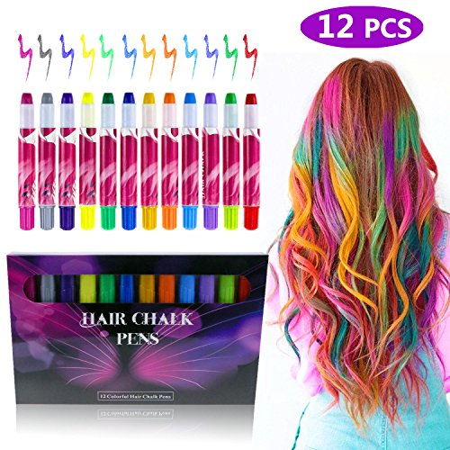 Philonext Temporary Hair Chalk Set, Colorful Hair Chalk Pens, Temporary Non-Toxic Portable Hair Coloring Chalk for Girls, Great Birthday Gifts Present for Girls (12 Colors)