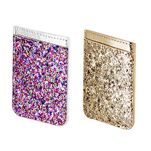 Two Pack Phone Card Holder uCOLOR PU Leather Wallet Pocket Credit Card ID Case Pouch 3M Adhesive Sticker on Smartphones(fit for 4.7