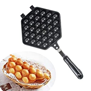 Egg Waffle Pan- Make Hong Kong Egg Waffle Griddle Non-Stick Grill Egg Cake Pan Egg Puff Waffle Maker Double Sided Iron Pressure Pan