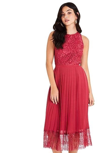 genuine shoes premium selection beauty Little Mistress Nadja Red Lace Pleat Midi Dress: Amazon.co.uk ...
