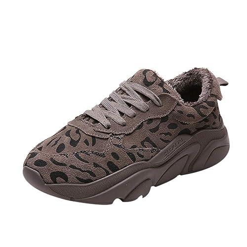 Logobeing Zapatillas de Running Moda para Mujer Invierno Cálido Zapatillas con Estampado de Leopardo Zapatillas Deportivas