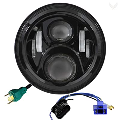 Eagle Lights 7 Inch Round Generation 2 Black LED Headlight for Harley Davidson with 2014+ Harley Adapter Harness: Automotive