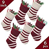"""LimBrige 6 Pack 9"""" Knit Stripe Christmas Mini Stockings, Rustic Holiday Decorations, Goodie Bags for Family & Friends, White/Red"""