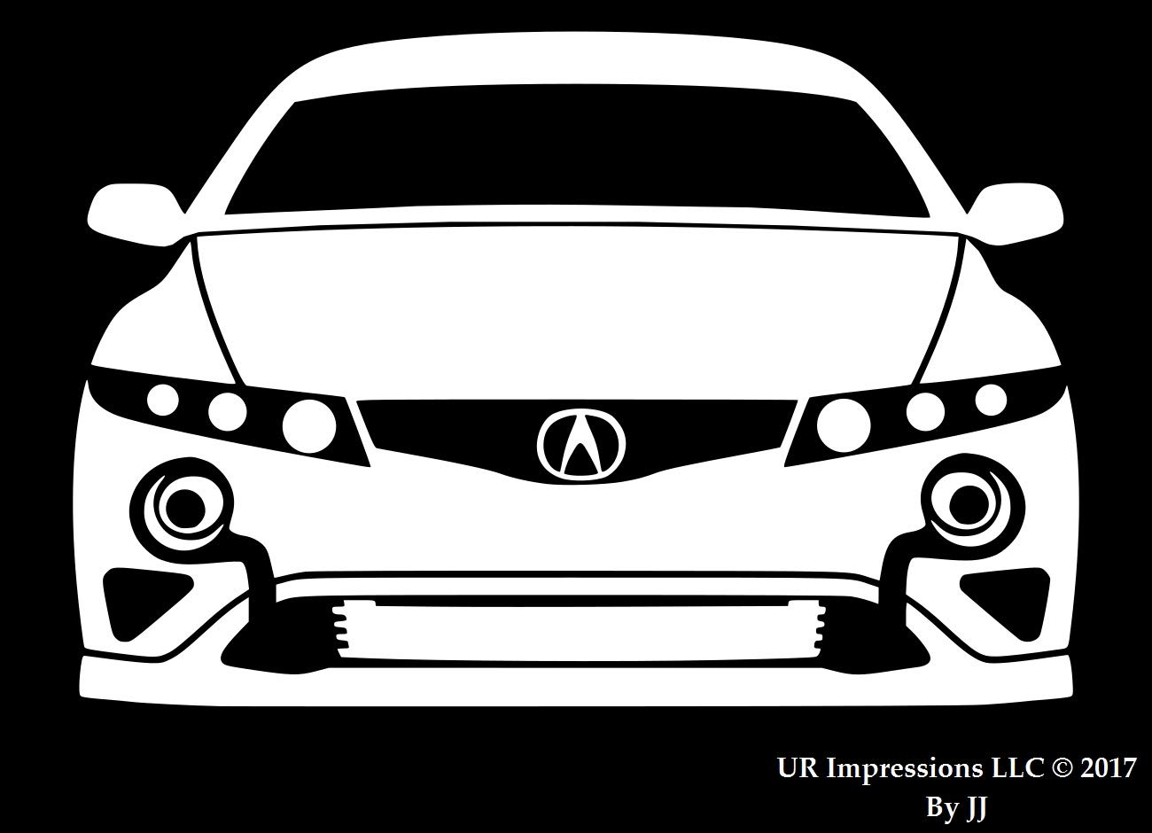 Twin turbo tuner front silhouette decal vinyl sticker graphics for acura tl integra rsx type s cars suv walls windows laptop tabletwhite7 5 x 5 inch