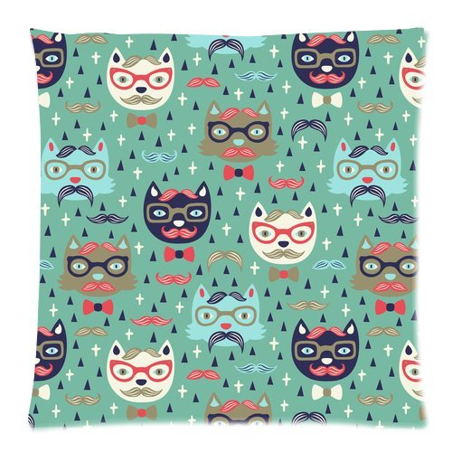 Custom Fashion Funny Cat With Glasses and Mustache Zippered Square Throw Pillow Cover Cushion Case 18x18 (Twin sides)