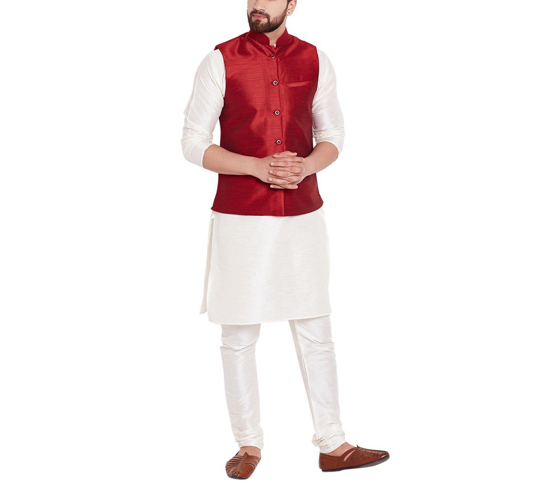 Sojanya Men's Dupion Silk Nehru Jacket Red XX-Large Maroon