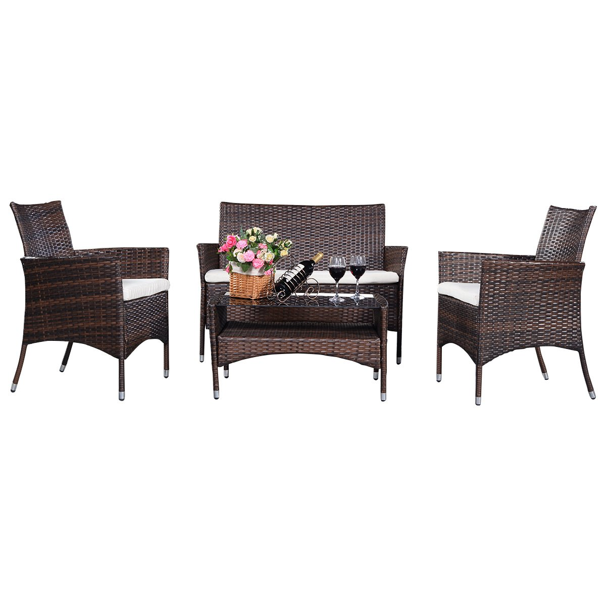 gartenm bel rattanm bel lounge set sitzgruppe sofa garnitur modern polyrattan 4tlg polyratten. Black Bedroom Furniture Sets. Home Design Ideas