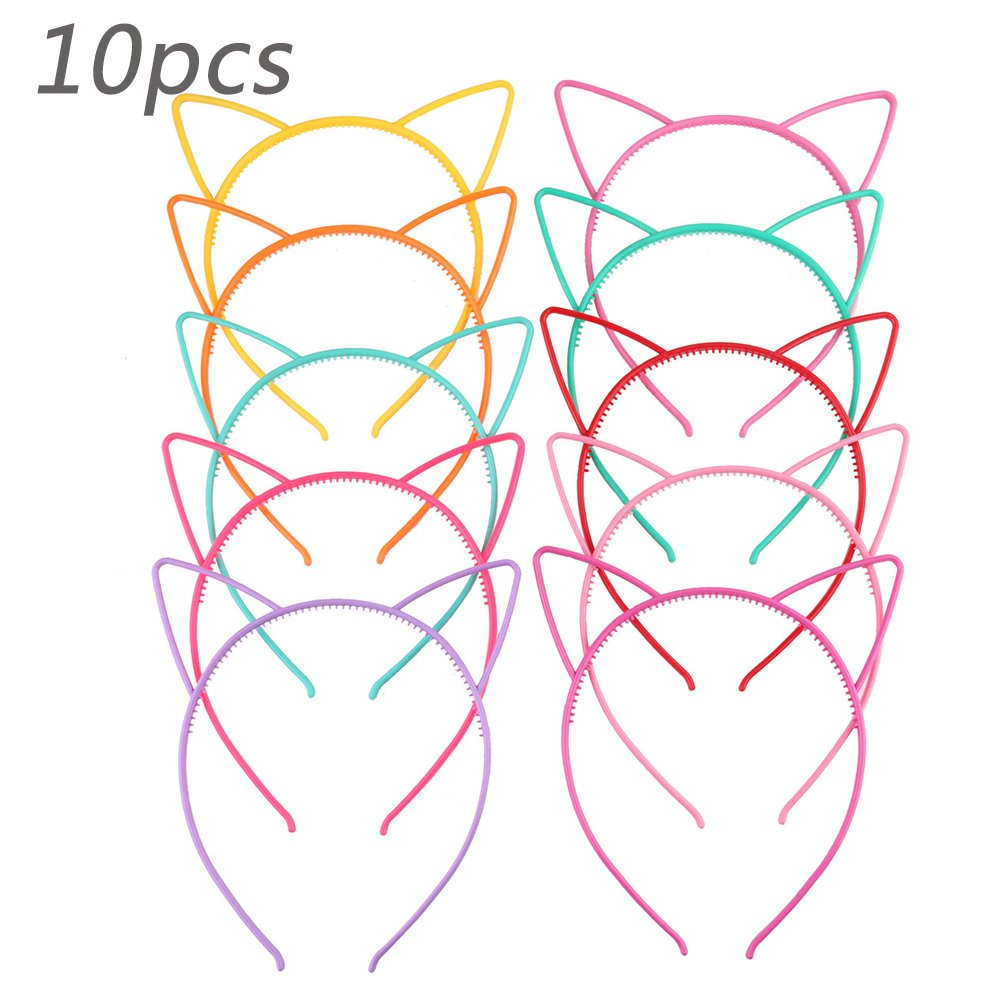 10Pcs Girls Hairhoop Cat Ears Headbands Bow Hairbands Elastic Plastic Colorful Hairwear (random) Ouchver