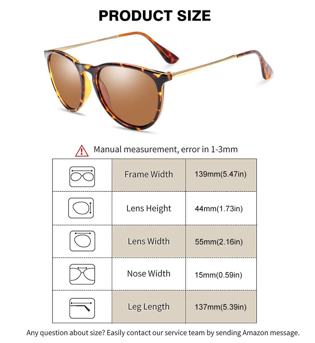 WOWSUN Polarized Sunglasses for Women Vintage Retro Round Mirrored Lens (brown leopard tortoise, 55)