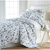 Unkk 2 Piece White Floral Quilt Set Twin XL, French Country Style Motif Flower Pattern Bedding Contemporary Beach Spring Theme Bedspread Lake House Cottage Summer Season Reversible, Sateen Cotton