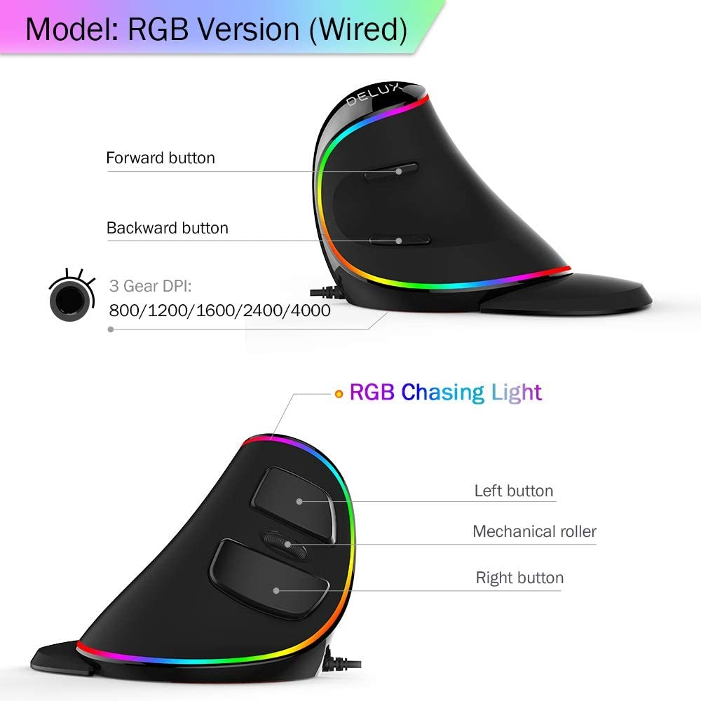 Color : RGB RENKUNDE Ergonomics Vertical Gaming Wired Mouse 6 Buttons 4000 DPI Optical RGB Wireless Right Hand Mice for PC Laptop Mouse