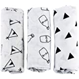 UINSTONE Baby Swaddling Blankets Large Baby Receiving Blankets Soft and Cozy 100% Cotton Nordic Style 3 Pack Grey White